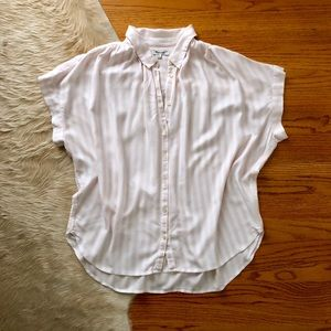 Madewell Central Shirt in White and Pink Stripes